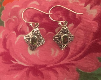 Vintage Peridot Earrings...Sterling Silver Earrings....Gypsy...Hippie...Birthstone...Ethnic...Gift...Vintage Shop