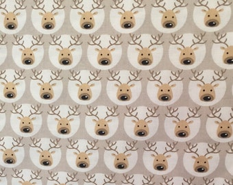 Reindeer Print Cotton Fabric,Quilting and Patchwork Fabric, 100% Cotton - Fat Quarter