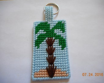 PALM TREE Key Chain plastic canvas
