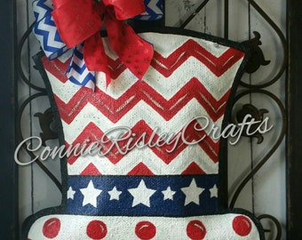 Patriotic Uncle Sam Burlap Door Hanger Fourth of July Decoration