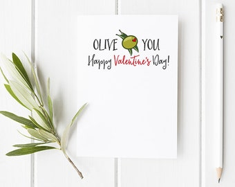 Olive You Valentines Day Card / Valentine's Day Card For Girlfriend / Boyfriend / Husband / Funny Valentine / Funny Card