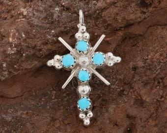 Native American Jewelry,Turquoise Jewelry,Zuni Jewelry,Zuni,Turquoise Cross Pendant,Native American, Zuni Coral & Turquoise Cross Pendant