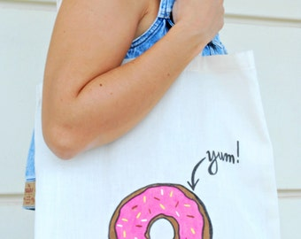 Donut canvas bag - Canvas tote - Donut tote - Market bag - Handpainted bag - Cotton bag - Donut bag