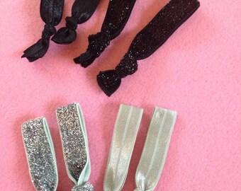 Pack of 4 GLITTERY Elastic Hair Ties BLACK or SILVER