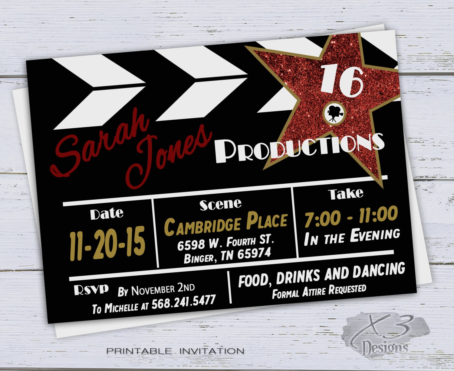 Hollywood Star Invitations with perfect invitations sample