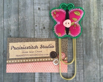 Butterfly bookmark, planner accessory, organizer, calendar, felt and cotton butterfly paperclip, paperclip, bookmark