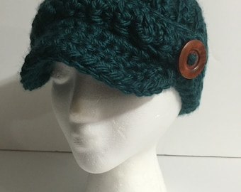 Crochet Newsboy Hat with Wooden Button