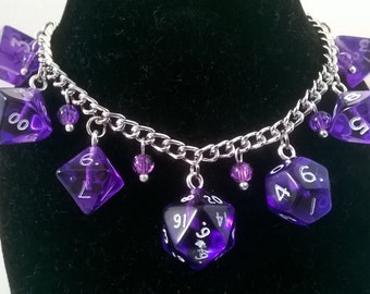 Purple Gem Translucent D&D Polyhedral Full Set of Mini Dice Charm Bracelet Geeky Gift for Her