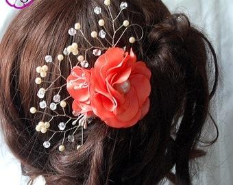 Flower hair clip , Bridal hair accessory , wedding tone comb , Floral hair piece , coral Flower , hair accessory , Floral , flower headpiece