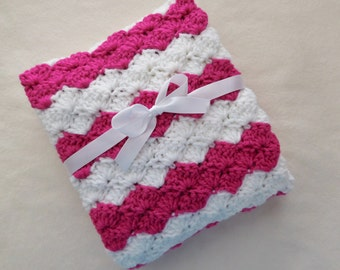 Crochet Baby Blanket - Baby Girl - Crib Size -  Pink and White - Baby Shower Gift - Nursery - Bedding - Knit - Baby Afghan