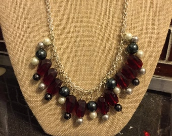 Red , Black, Gray and White Statement Necklace