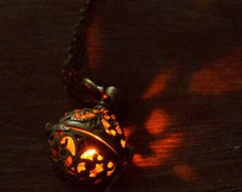 Steampunk Magic Fire Ball -Steampunk - Pulsing Light Necklace