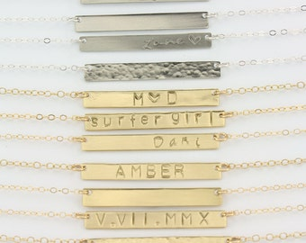 Bar Necklace Personalized, Gold Bar Necklace, Name Plate Necklace, Personalized Necklace, Silver Layered Necklace, 36mm x 5mm LC404