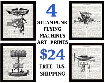 Dictionary Art Print, Set of 4 Aviation Art Prints, 8 x 10 Inches, Popular Steampunk Flying Machines, Home Decor, Free Shipping in the U.S.