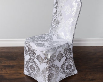 Damask Design Spandex/Lycra Chair Cover- Silver and Gold Colours available!