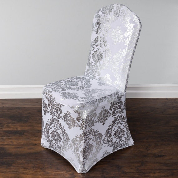 damask design spandex lycra chair cover silver and gold colours