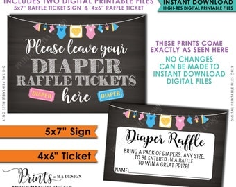 "Diaper Raffle Ticket Sign & Cards, Baby Shower Raffle, Raffle to Win Neutral Clothesline, Instant Download 5x7"" Chalkboard Style Printable"