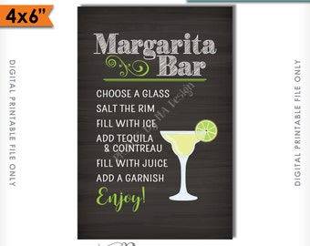 "Margarita Bar Sign, Make your own Margarita, Salted Rim Tequila & Cointreau, Wedding Chalkboard, 4x6"" Instant Download Digital Printable"