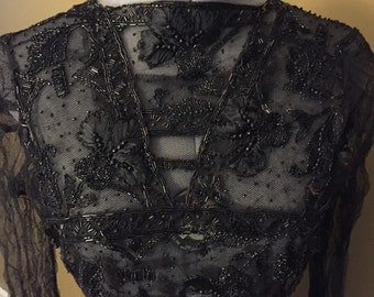 Edwardian Black Net and Beaded Dress