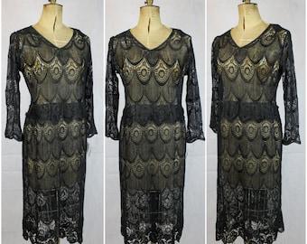 vintage 1920's art deco lace dress flapper Original 1920's Black Silk Lace Dress 20's true vintage twenties