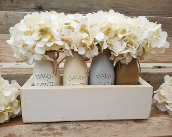 Farmhouse Kitchen Decor, Painted Milk Jar Centerpiece, Painted Jars, Painted Jar Centerpiece, Small Wood Tray with Jars, Farmhouse Kitchen