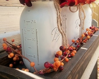 Long Rustic Wood Tray With Handles and Mason Jars, Fall Table Decor, Long Wood Tray, Rustic Fall Tray Centerpiece, Wood Table Tray With Jars