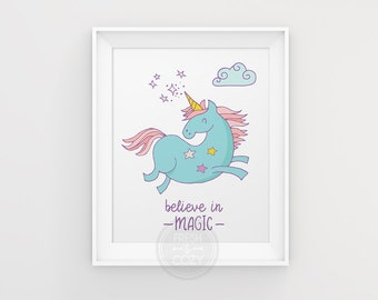Believe in Magic Wall Art Nursery Printable with Magic Unicorn - Girl Nursery Decoration - Printable Wall Decor - INSTANT DOWNLOAD