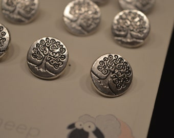 "12 Tree Metalic Shank Buttons 1/2"" Round"