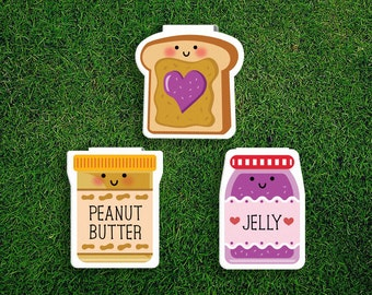 Magnetic Bookmark | Peanut Butter Jelly Magnet Cute Book Bookmarks Pack of 3, Magnetic Cute Quirky Kawaii PB&J PB+J Sandwich Jam Bread Toast