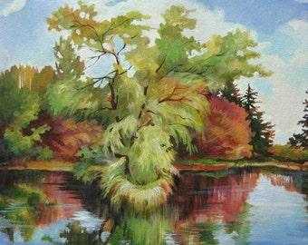 "The Lake, 10""x10"" ,acrylic painting , original art by Olga Zakharova"