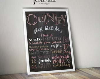 Personalized First Birthday About Me Poster