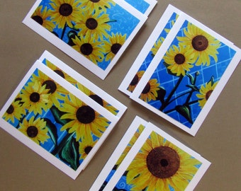 Sunflower Blank Note Cards with Envelopes, Sunflower Art, Original Art Print Note Cards and Envelopes, Sunflower Note Cards Gift Set