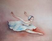 "Original watercolor art, ballerina, ballet dancer, swan,8""Х10"", Watercolor etude"