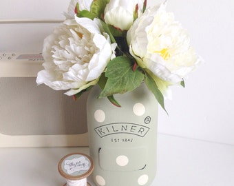 Hand painted large Kilner jar distressed and finished with polka dots with coordinating artificial peony flowers