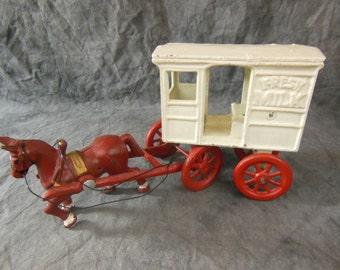 Horse Drawn Milk Wagon Made of Cast Iron - Vintage
