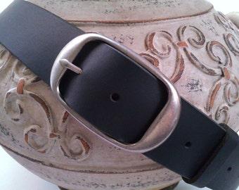 "Full Grain Matte Black Leather Belt Strap 1-1/2""-Silver Buckle-Supple Vintage Style Snap-on Belt Strap-Gift for Her Gift for Him"