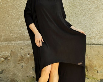 Oversize Black Loose Casual Aymmetrical Raglan Long Sleeves Tunic/Maxi Blouse/Woman Black Dress/Asymmetric Tunic Top/Maxi long tunic/T1474