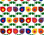 Drop shaped retro flowers in bright colours. Modern cross stitch pattern. Contemporary cross stitch design.