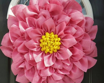 Pink and yellow large burlap flower wreath.  Summer wreath, Year round wreath, Burlap Flower, Front door wreath, Burlap wreath, Spring decor