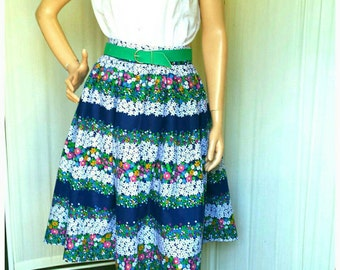 Floral Skirt Vintage 1950s/1960s Inspired Size 14 Sustainable Eco Friendly  Handmade Vintage Printed Cotton Lawn Fabric