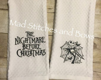 Custom embroidered nightmare before Christmas hand towels set of 2