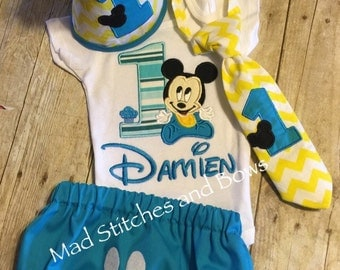 Custom embroidered baby Mickey Mouse first birthday outfit