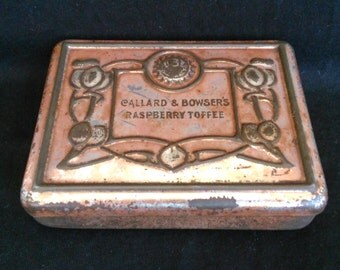 Antique Art Nouveau Callard & Bowser's Raspberry Toffee Tin c1900 Very Rare Highly Collectible Edwardian Embossed Tin Made in England