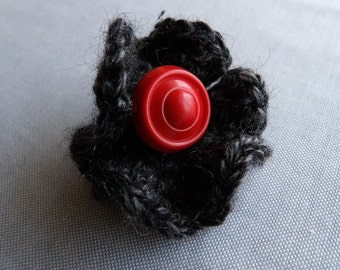 Crochet and Button Brooch