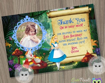 Alice in wonderland Thank You Card, Alice in wonderland Birthday Party, Alice in wonderland Party, Alice Wonderland Birthday Card