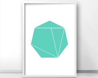 Mint Green Wall Art Print, Instant Digital Download Art, Geometric Art, Mint Decor, Printable Home Decor, Modern Art 8x10 Print