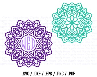 Mandala Circle Monogram Frame Design Files, Use With Silhouette Software, DXF Files, SVG Font, EPS File, Svg Font, Silhouette - CA258