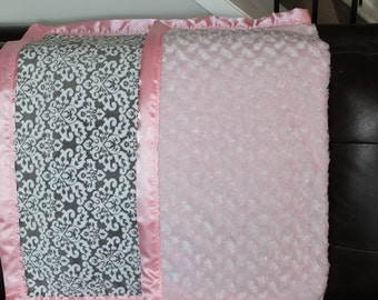 Damask with pink rosette minky baby blanket with satin binding
