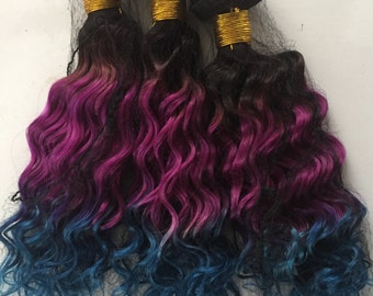 Midnight Blue Ombre Hair Extensions, Cerise Hair,Vibrant Hair, Christmas Hair,Hippie Hair, Burning Man Hair,3 bundles per set for whole head