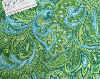 Blue and green paisley print fabic